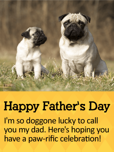 Happy Father's Day. I'm so doggone lucky to call you my dad. Here's hoping you have a paw-rific celebration!